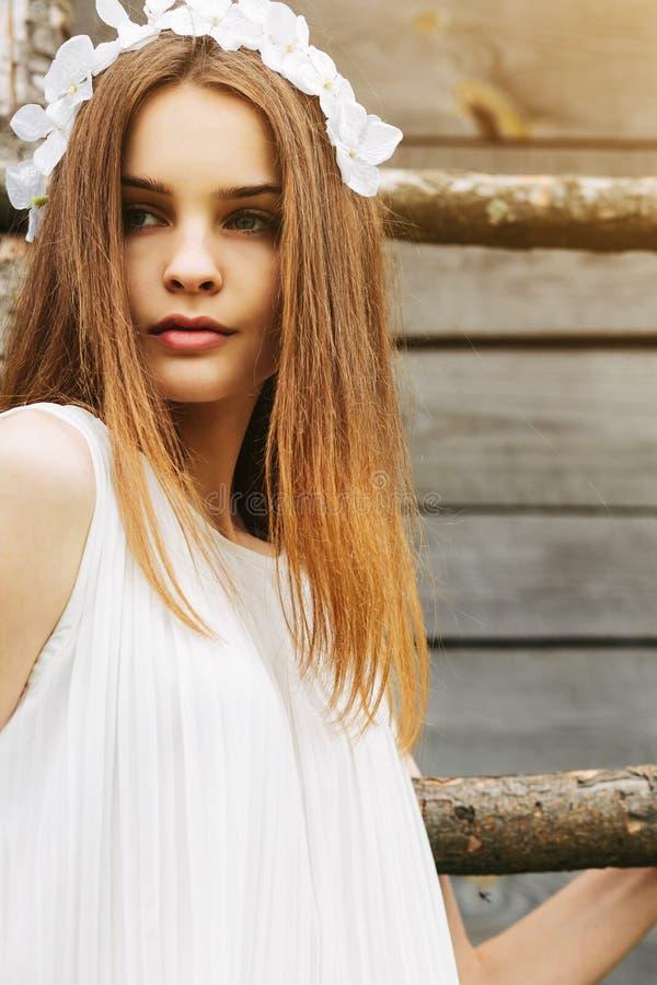 女孩上升的梯子到树上小屋里 库存照片