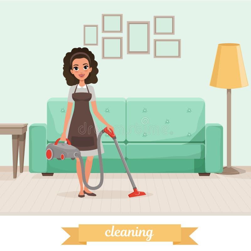 女孩与吸尘器的清洁地板在客厅 沙发、灯、桌和图片在墙壁上 佣人服务 向量例证