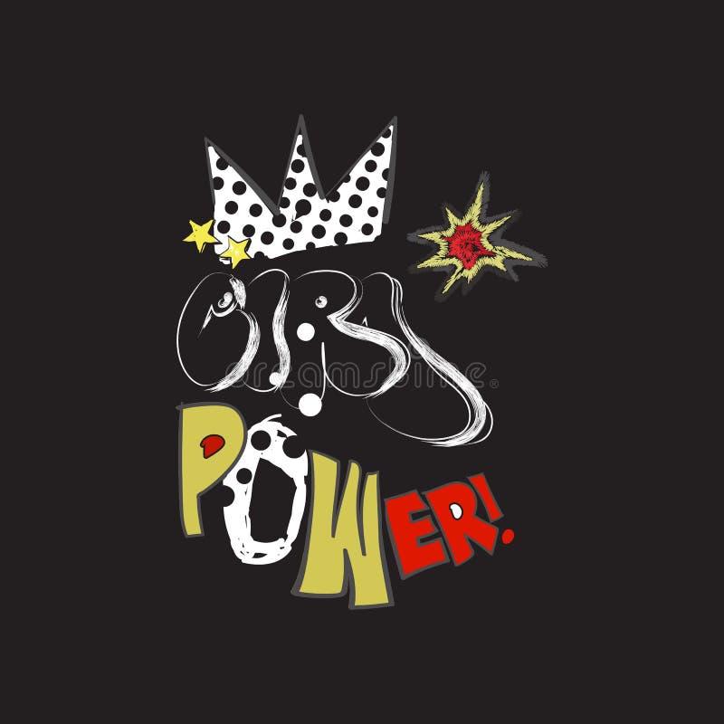 女孩与小点、冠和被绣的星的力量口号 导航T恤杉和打印的设计的流行艺术拼贴画 向量例证