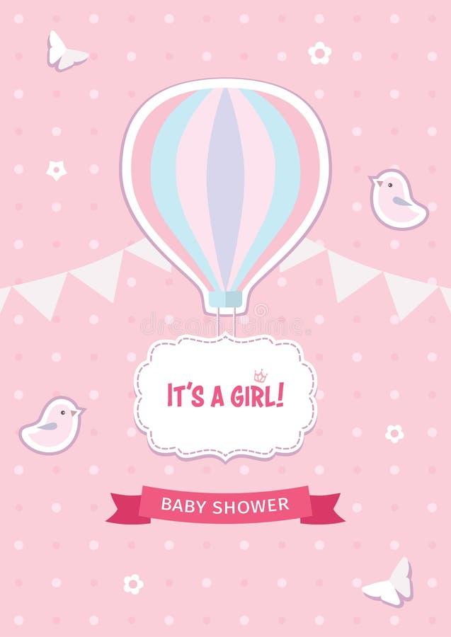 女孩与热空气气球、鸟、蝴蝶、花、丝带、诗歌选和装饰框架的婴儿送礼会模板 皇族释放例证