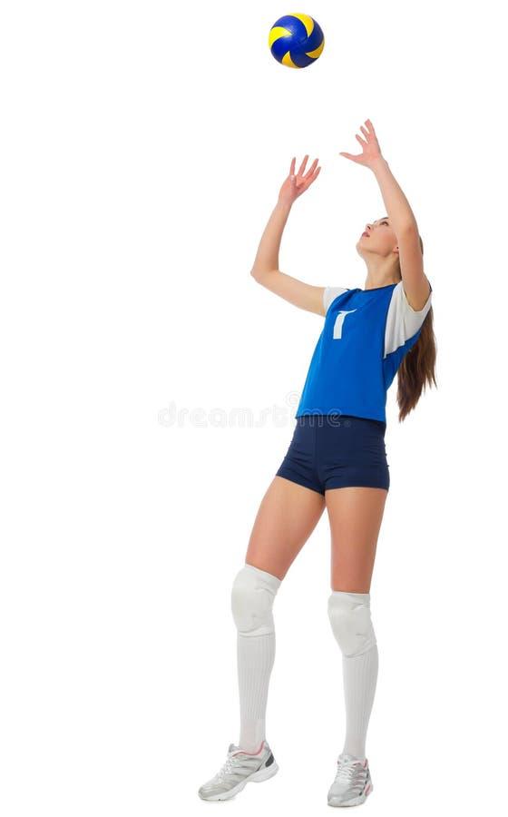 女孩与球的排球运动员ver 库存图片
