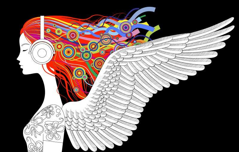 女孩与翼的头半面孔线性图画,上色宽松ha 向量例证
