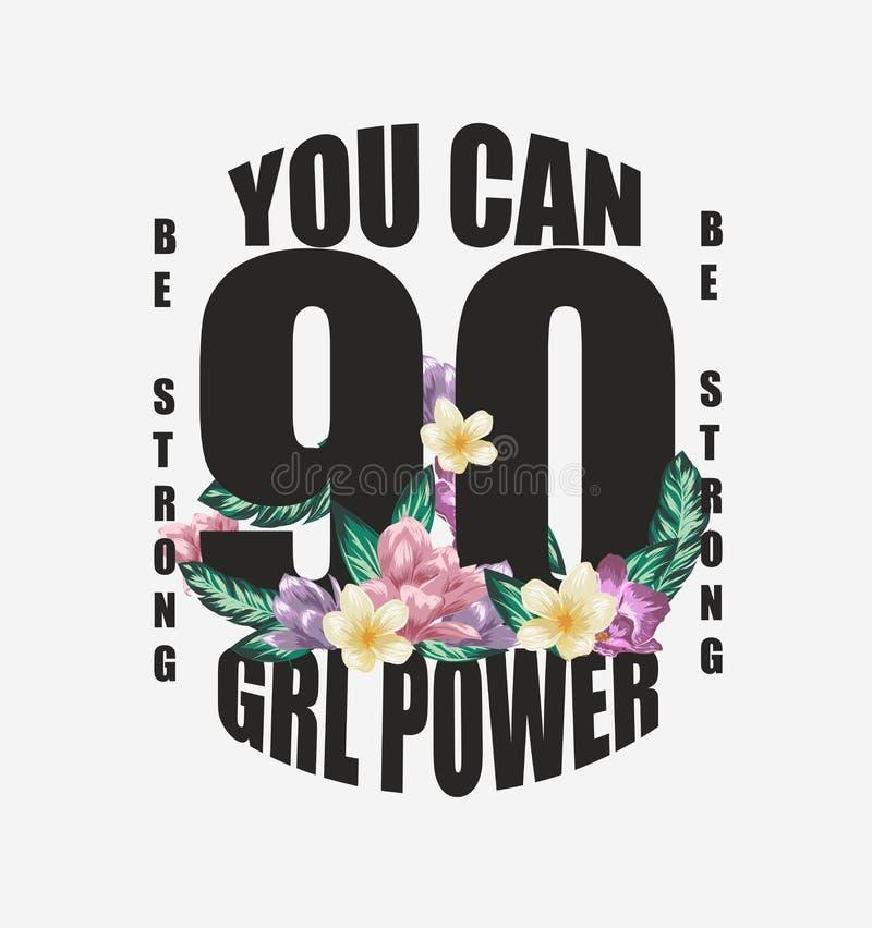 女孩与花卉设计例证的力量口号 向量例证