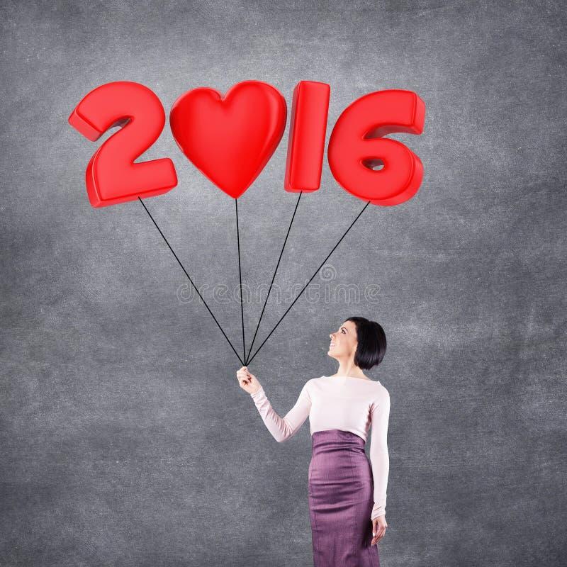 女孩与2016日期 免版税图库摄影