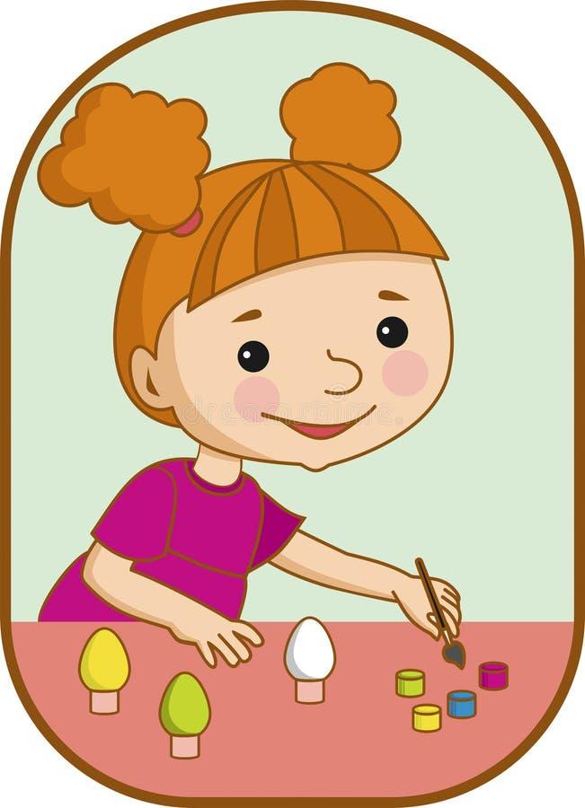女孩为复活节做准备 免版税库存图片