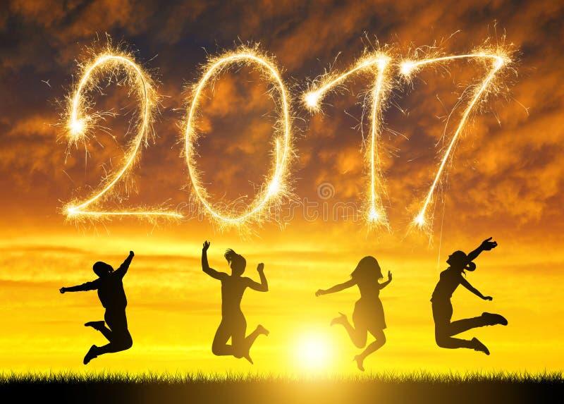 女孩为庆祝新年跳2017年 免版税库存照片