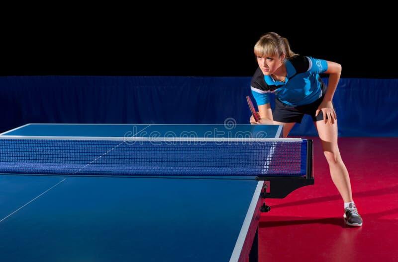 女孩乒乓球球员(被隔绝的ver) 免版税库存图片