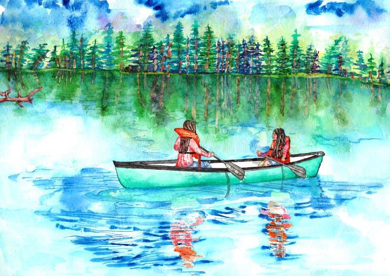 女孩乘独木舟 向量例证