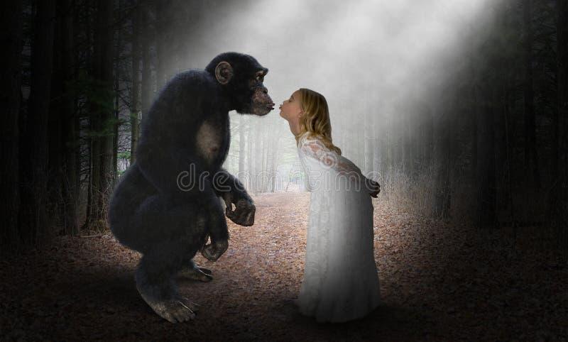 女孩亲吻黑猩猩,自然,爱,希望 免版税库存图片