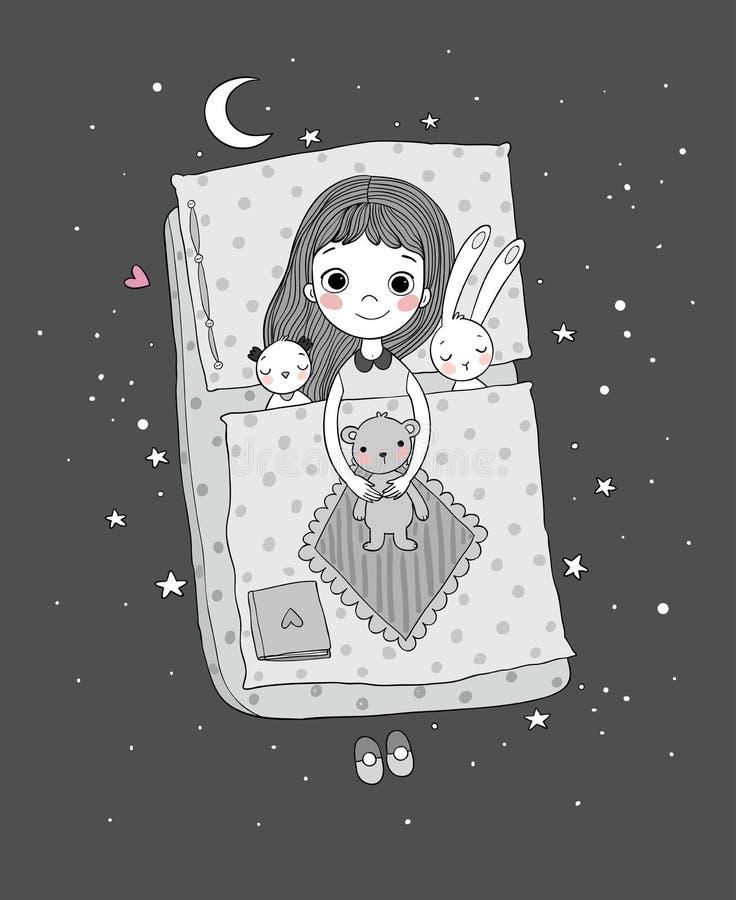 女孩休眠 婴孩在与玩具的床上 休眠时间 向量例证