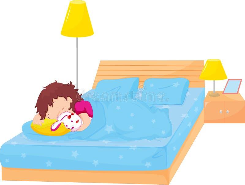 女孩休眠 向量例证