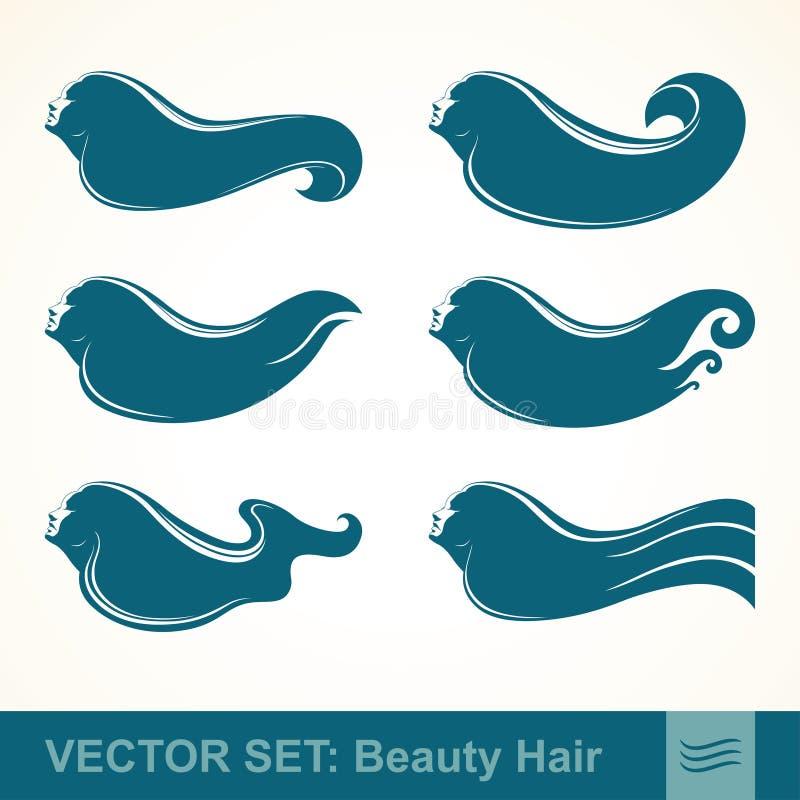 女孩传染媒介集合象档案有长的头发的 库存例证