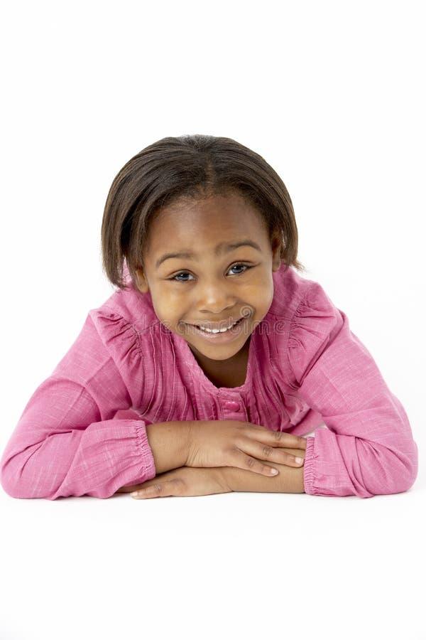 女孩位于的胃工作室年轻人 库存图片