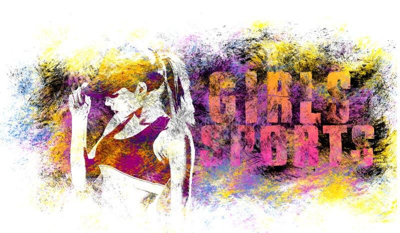 女孩体育艺术 健身刺激 体育图表样式 女孩体育例证 时尚时髦的印刷品 模板服装,卡片, 皇族释放例证