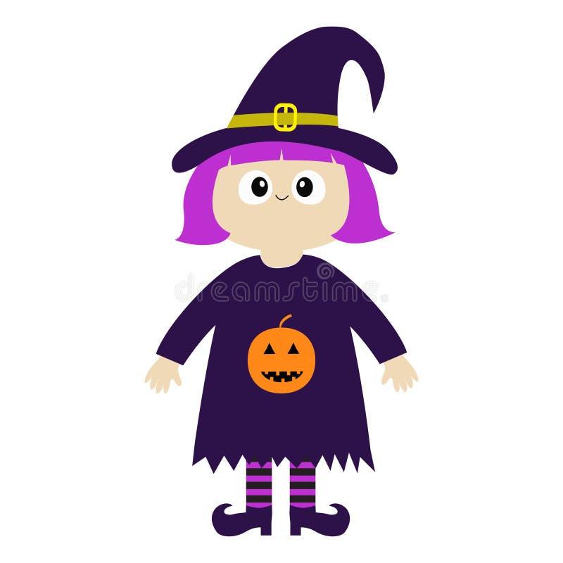 女孩佩带的巫婆服装卷毛帽子 橙色南瓜 愉快的万圣节 动画片滑稽的鬼的婴孩魔术字符 逗人喜爱的顶头面孔 g 向量例证
