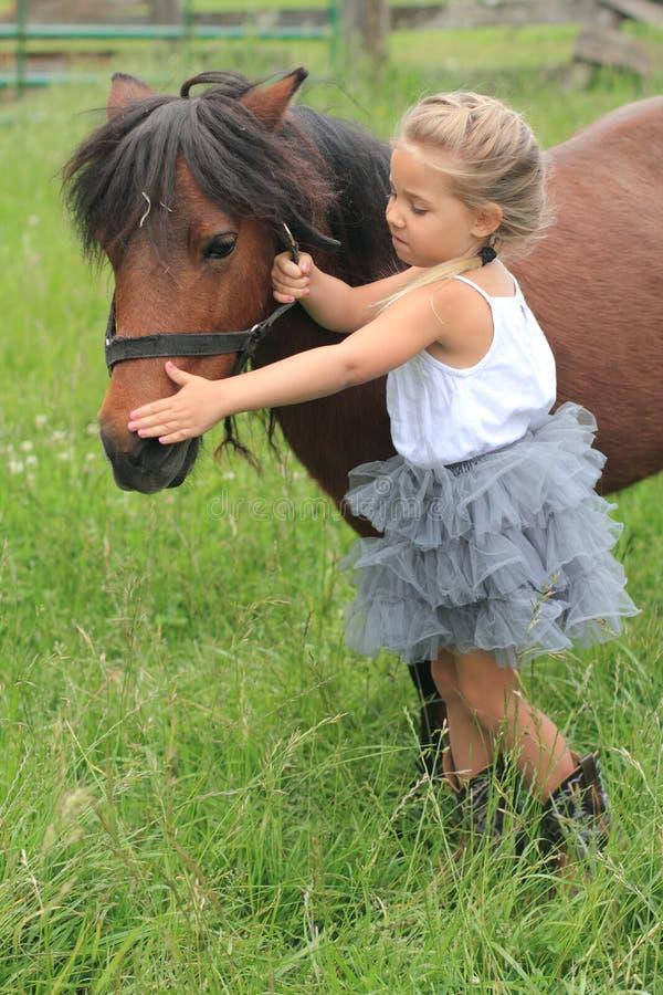 女孩俏丽她小的小马 免版税库存图片