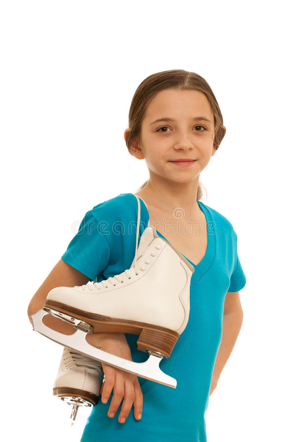 女孩俏丽的冰鞋 免版税库存图片