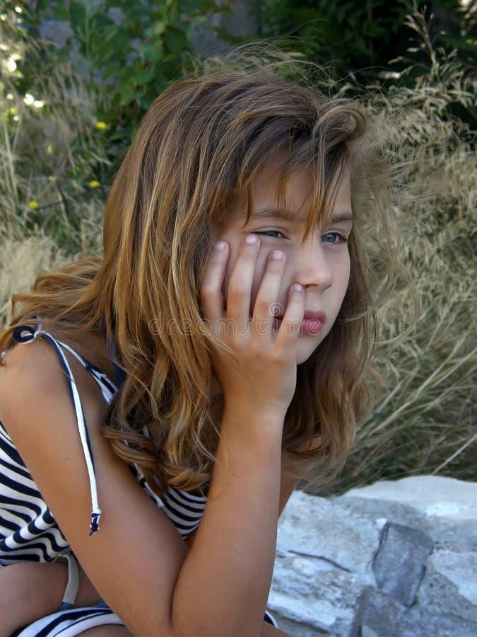 女孩偏僻哀伤 库存图片