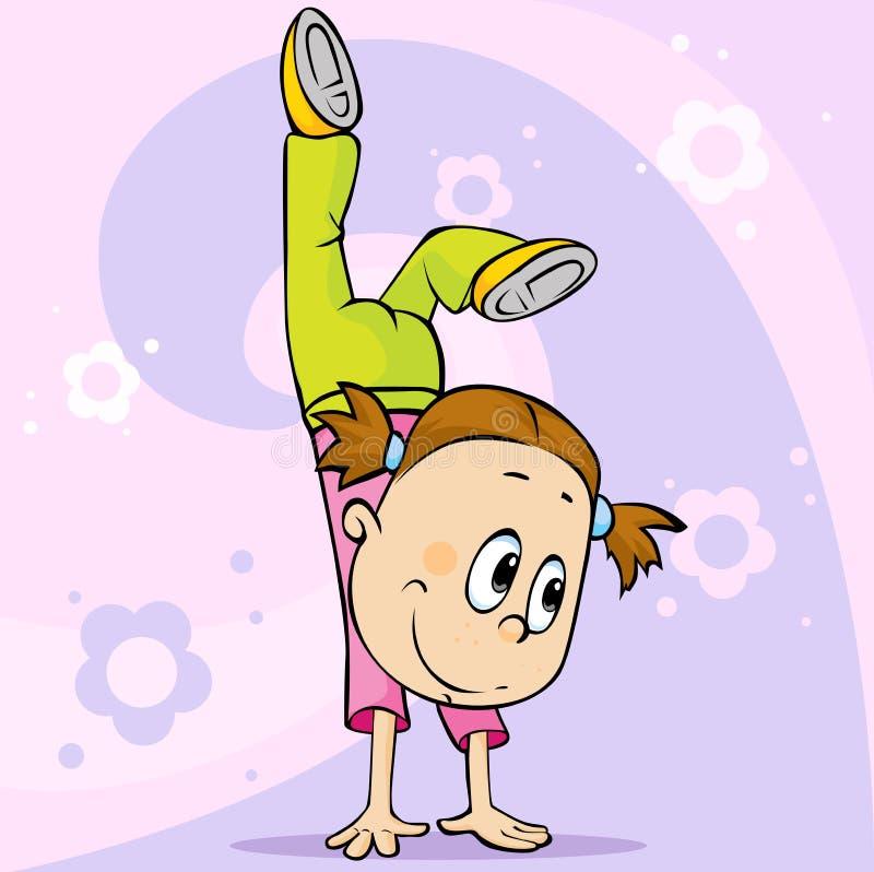 女孩做手倒立-传染媒介动画片illustrationgirl做手倒立-导航动画片例证 皇族释放例证