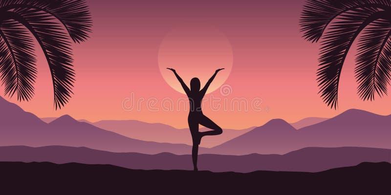 女孩做瑜伽在紫色颜色的热带红色山风景 皇族释放例证