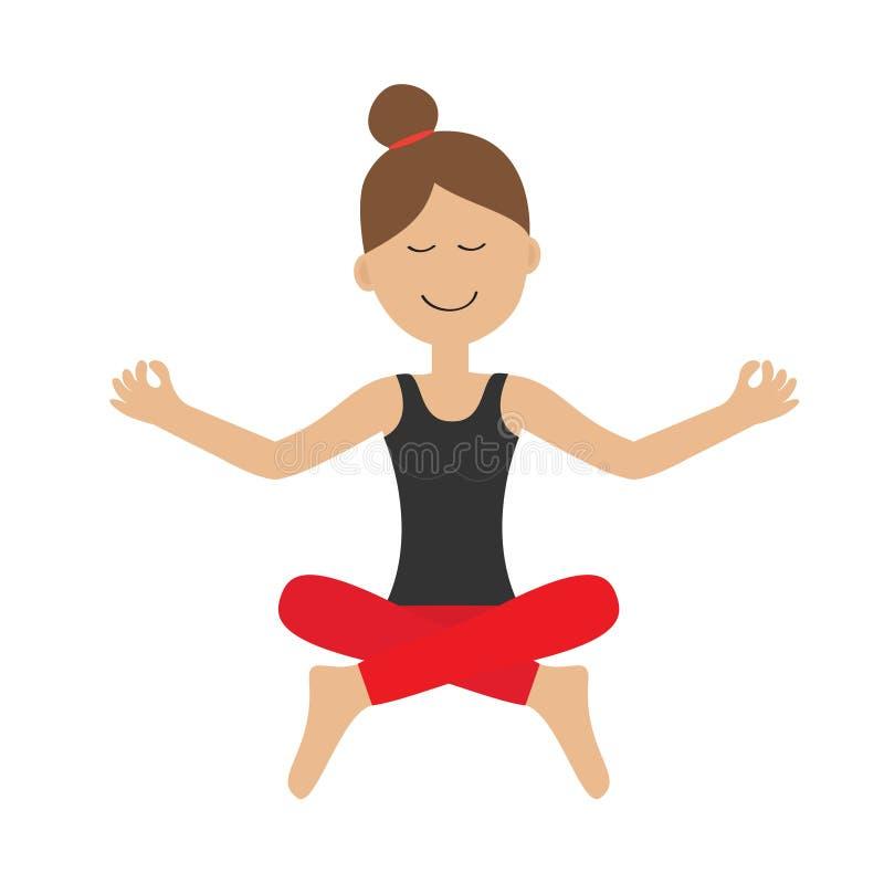 女孩做瑜伽 坐在莲花姿势的逗人喜爱的动画片妇女字符 健康生活方式 放松锻炼 被思考的 查出 向量例证