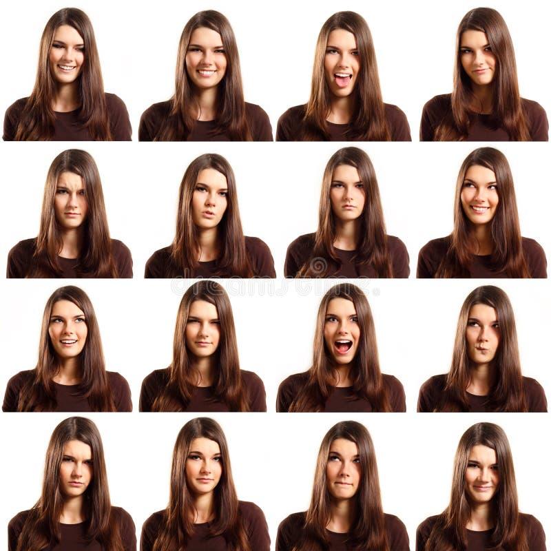 女孩做鬼脸的查出的集合少年白色 免版税库存图片