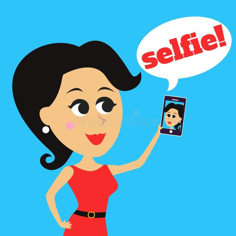 女孩做selfie 皇族释放例证