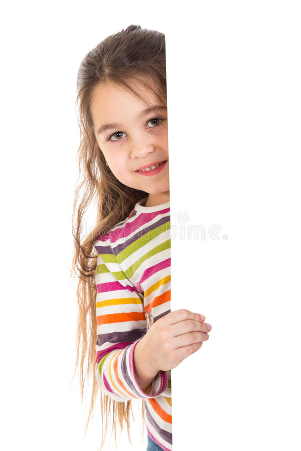 女孩偷看从vertica横幅 图库摄影