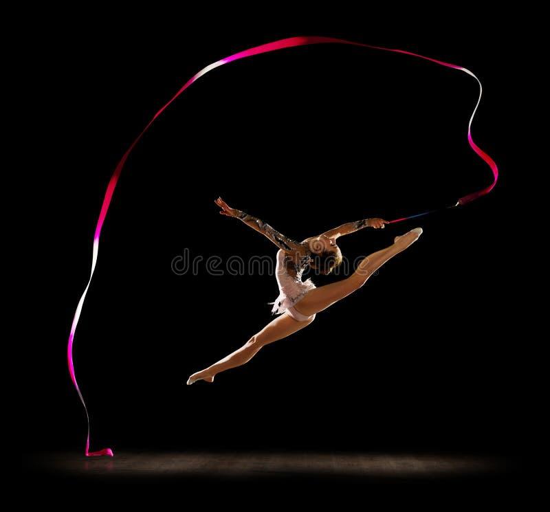 女孩允诺的艺术体操 免版税库存照片