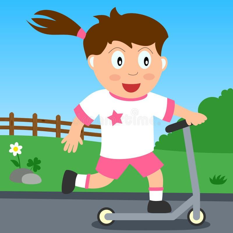女孩公园推进滑行车 库存例证