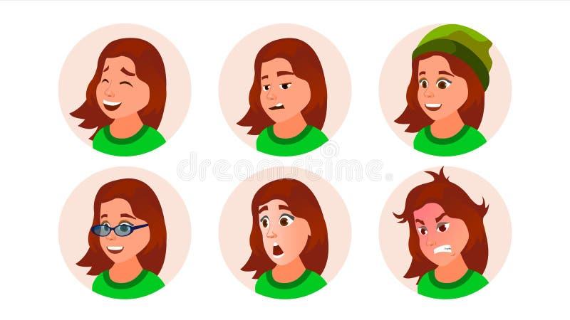 女孩具体化传染媒介 青少年的妇女面孔,被设置的情感 字符商人 动画片司令员枪他的例证战士秒表 向量例证