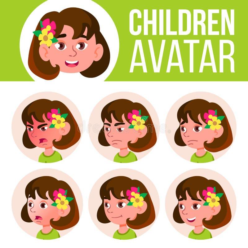 女孩具体化集合孩子传染媒介 幼稚园 面对情感 动画片,可笑,平 少许,逗人喜爱,可笑 明信片 皇族释放例证