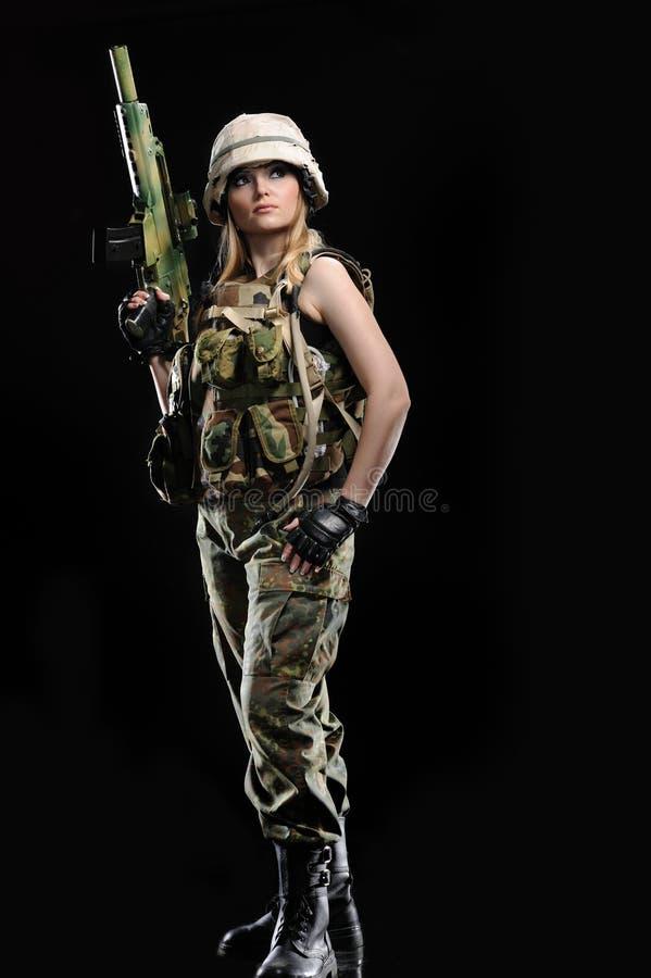 女孩军事性感 图库摄影