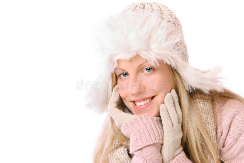女孩冬天 免版税库存照片