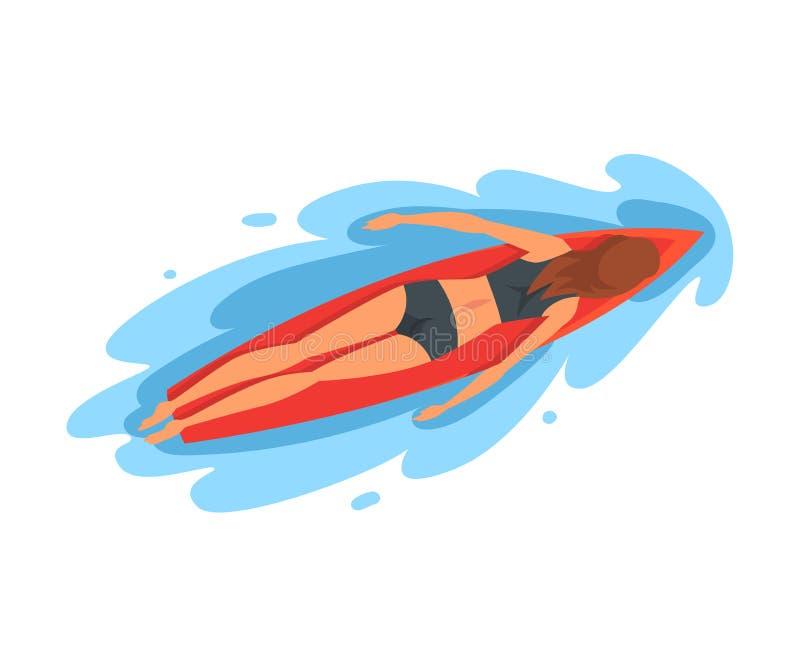 女孩冲浪者字符说谎在冲浪板的,消遣海滩水上运动,享受暑假传染媒介的年轻女人 皇族释放例证