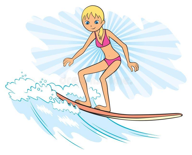 女孩冲浪者 库存例证
