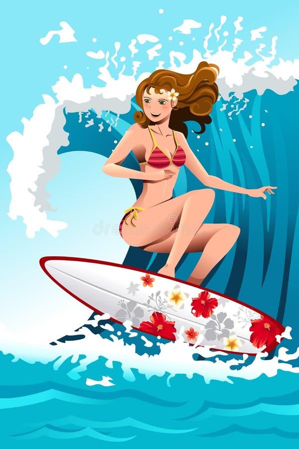 女孩冲浪 向量例证