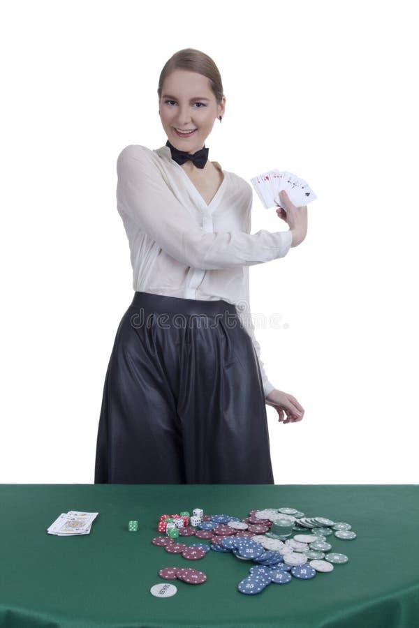 女孩副主持人在赌博娱乐场 库存图片