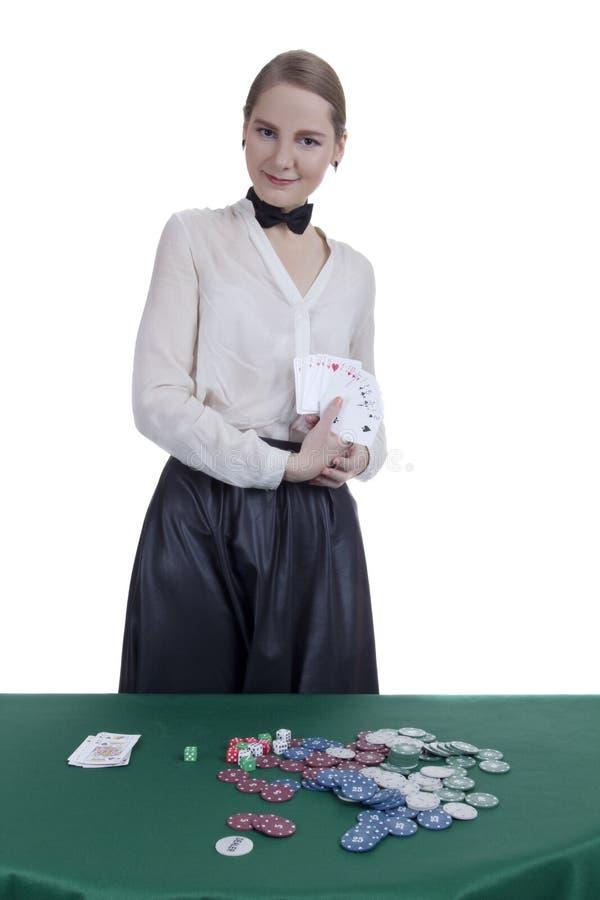 女孩副主持人在赌博娱乐场 免版税库存照片