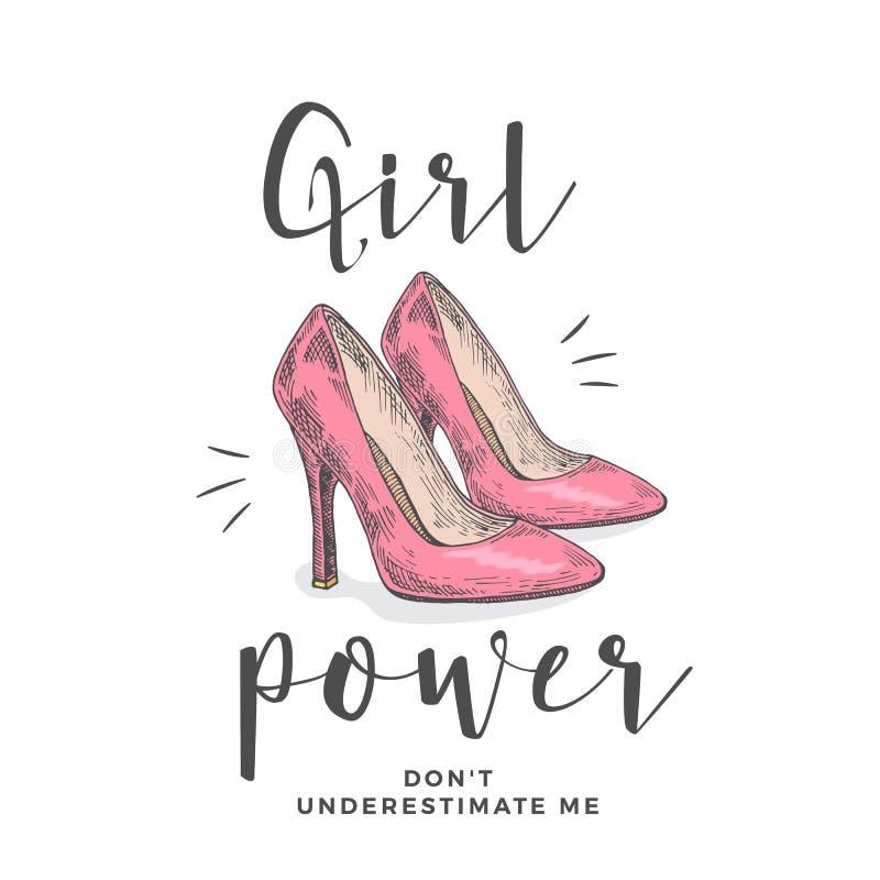 女孩力量不低估我 抽象传染媒介服装例证 有口号的手拉的高跟鞋桃红色鞋子 向量例证