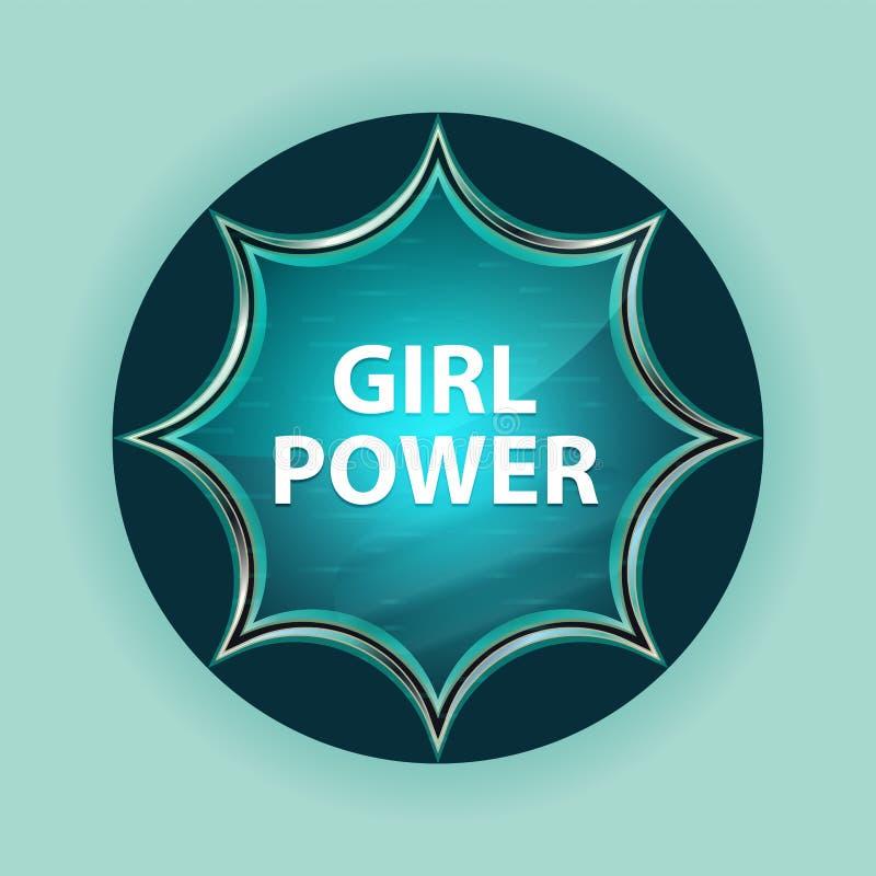 女孩力量不可思议的玻璃状镶有钻石的旭日形首饰的蓝色按钮天蓝色背景 库存例证