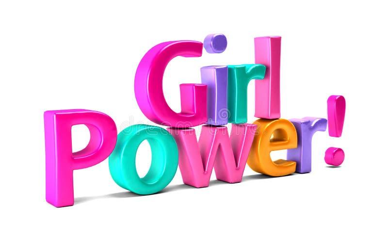 女孩力量五颜六色的词 截去容易的编辑文件例证的3d包括了路径翻译 向量例证