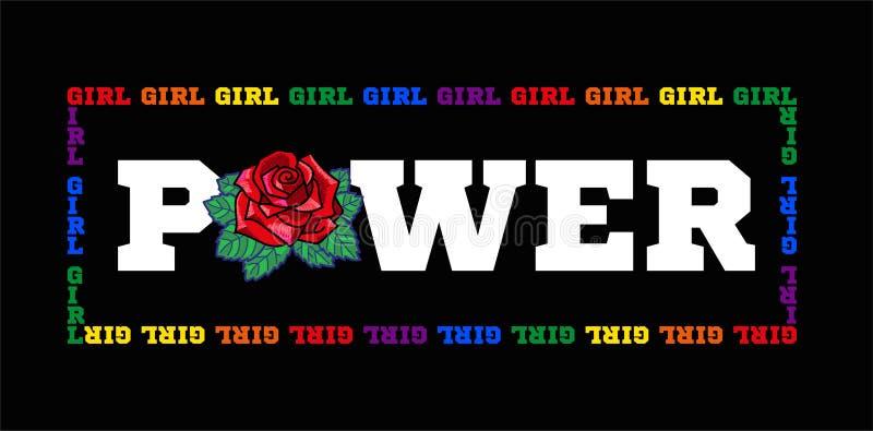 女孩力量印刷品 向量例证