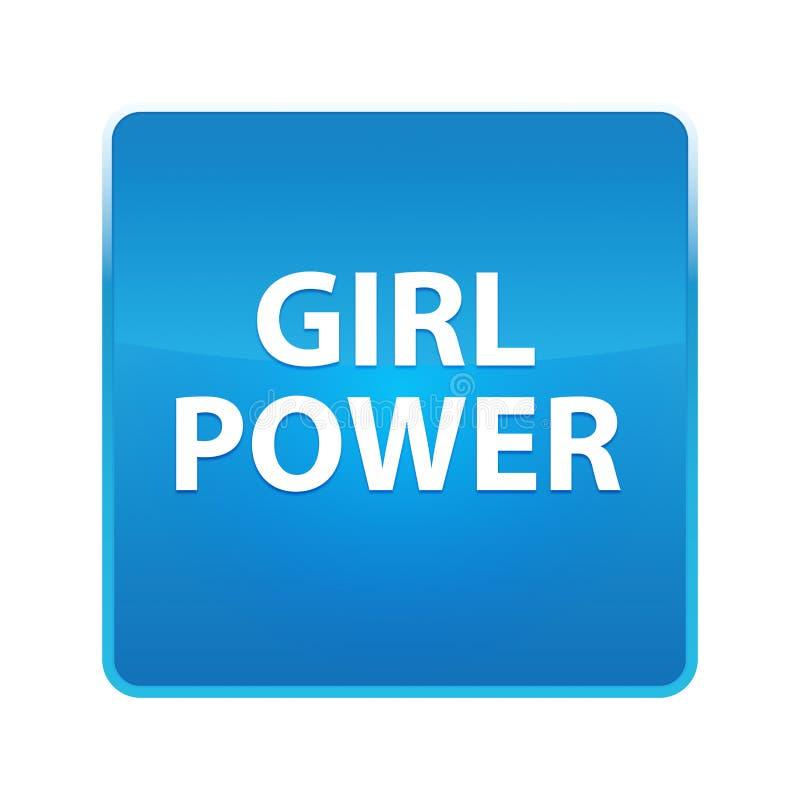 女孩力量发光的蓝色方形的按钮 向量例证