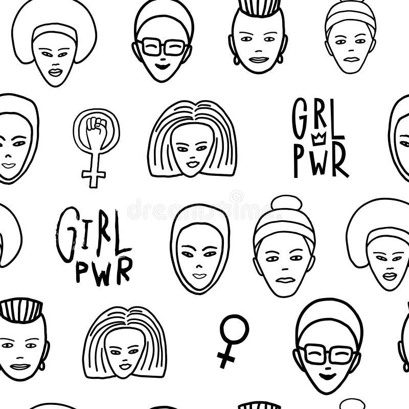 女孩力量妇女面孔女权无缝的样式 皇族释放例证