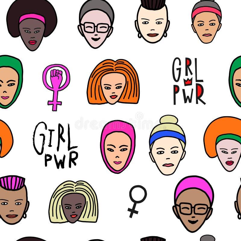 女孩力量妇女面孔女权无缝的样式 向量例证
