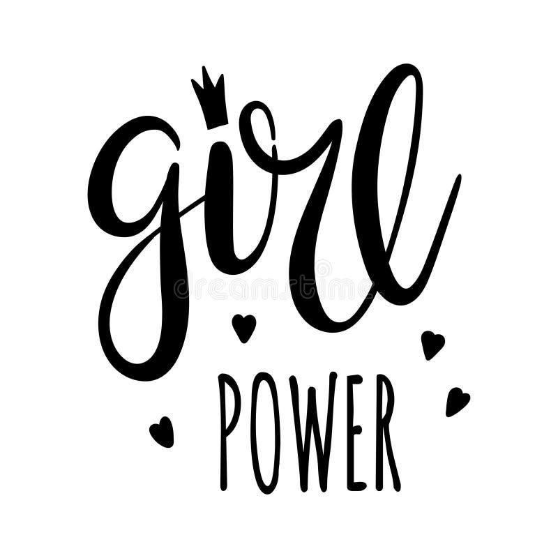 女孩力量字法,女权主义口号 黑题字适用于T恤杉、海报和墙壁艺术 向量例证