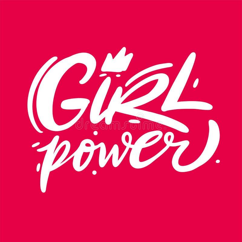 女孩力量手拉的传染媒介字法 女权主义口号 隔绝在桃红色背景 向量例证