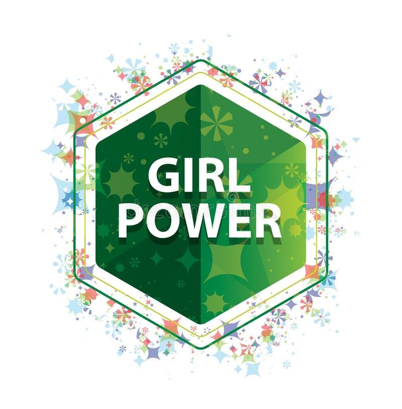 女孩力量花卉植物样式绿色六角形按钮 皇族释放例证