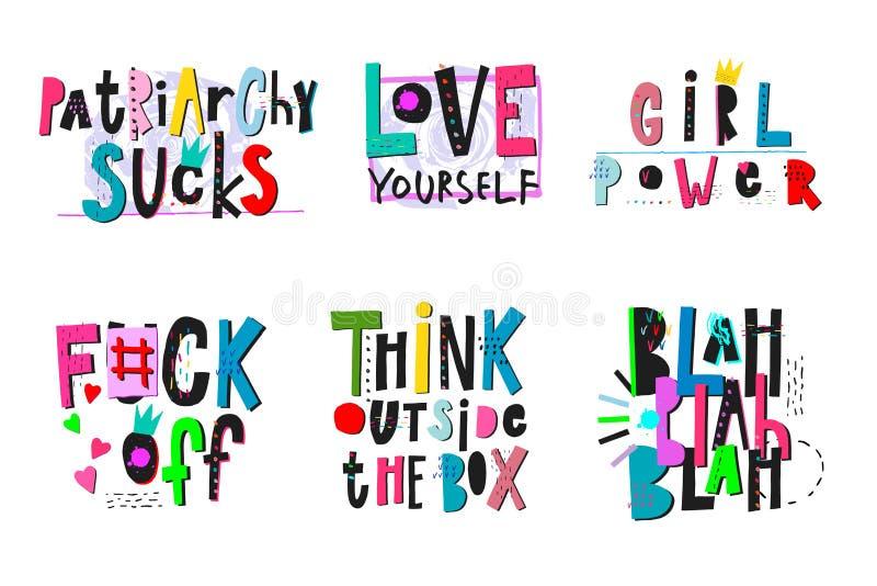 女孩力量衬衣行情字法集合 向量例证